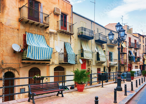 Palermo Cozy street in Cefalu town Sicily