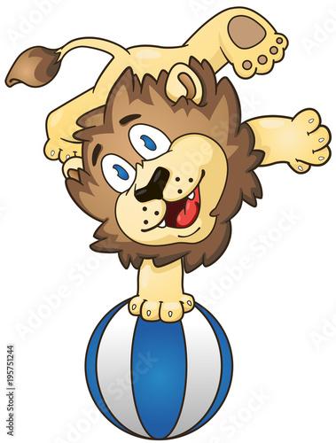 Fototapeta Cartoon lion on the beach ball. Vector clip art illustration with simple gradients.