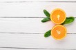 Fresh Orange. Fruits. On a wooden background. Top view. Copy space.