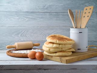 Freshlly baked pita bread