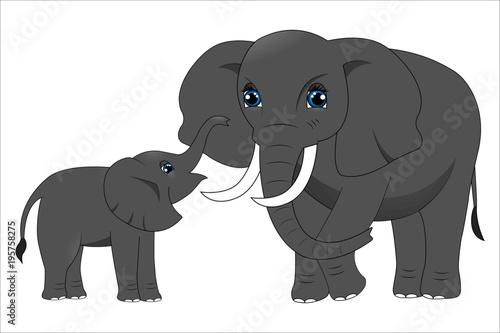 Fototapeta Mother elephant and baby elephant