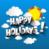 Happy Holidays greeting card design vector illustration - 195760661