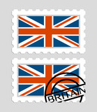 Britain flag on postage stamps - 195760809