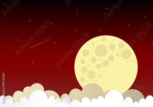 Fototapeta moon and stars in midnight