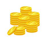 Pile of gold coins. Money icon. Flat design isolated on white background. Vector illustration. - 195767027