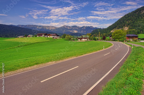 Foto op Canvas Cappuccino street in the mountains of Bavaria. Germany Alps