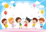 Vector Illustration Of Kids Background - 195770256