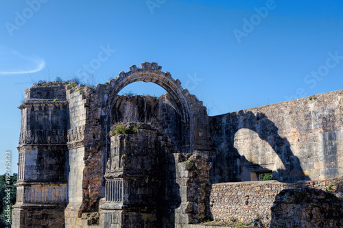 exterior view of the round fortified templars church in Tomar - Portugal Poster