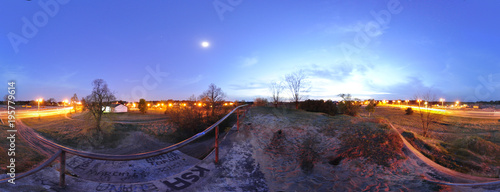 Fototapeta Panorama 360 - A view from the roof of the bunker on Ugory Street in Toruń. Poland 2012
