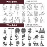 Simple and line wine icons set - 195782095