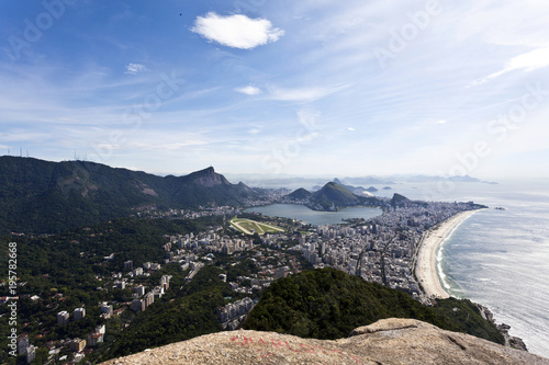 Papiers peints Rio de Janeiro View at the center of Rio de Janeiro (and Ipanema) from the Dois Irmaos (Two Brothers) mountain - Brasil - South America