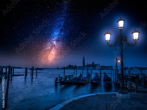 Foto op Canvas Venetie Grand Canal and milky way in Venice, Italy