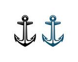 Black and Blue Anchor Smart Factory Sign Symbol Logo Vector