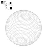 Abstract 3D wireframe geometric shape isolated on white background. 3D sphere - 195796222