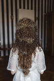 hairstyle for a young beautiful girl with a curly hair... - 195818252