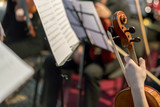 Hand on the strings of a violin. Symphony Orchestra in indoor. selected focus