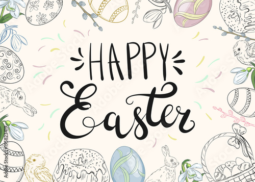 Easter background with traditional decorations easter greeting with easter background with traditional decorations easter greeting with colored eggs festive cake rabbit m4hsunfo
