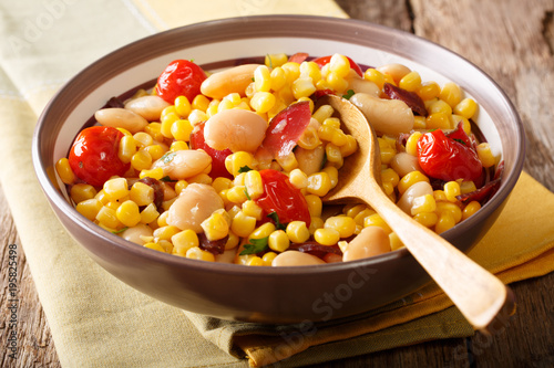 organic salad succotash from the butter beans, tomatoes and bacon close up in a bowl. horizontal - 195825498