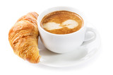 cup of coffee and croissant on white background - 195827273