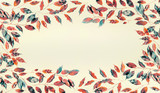 Beautiful frame made of autumn colored branches and leaves on pastel  background. Flat lay, top view, horizontal - 195830861