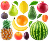 Isolated collection of fresh fruits. Apple, pear, lemon, orange, banana, pineapple, fig, peach, plum, avocado, pomegranate, apricot and watermelon isolated on white background with clipping path - 195838018