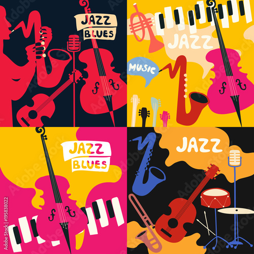 Fototapeta Set of music cards and banners. Music cards with instruments flat vector illustration. Jazz music festival banners. Colorful jazz concert posters