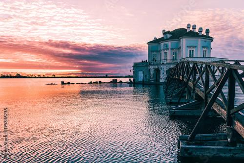 Foto op Canvas Napels Breathtaking Sunset at Casina Vanvitelliana, Fusaro Lake, Bacoli, Naples. Italy