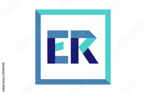 ER Square Ribbon Letter Logo