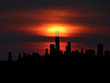 Chicago skyline silhouette with sunset illustration