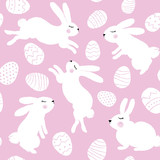 Easter Rabbits And Eggs Seamless Pattern Wall Sticker