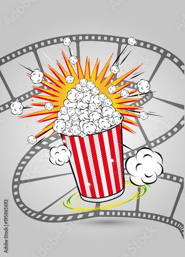 Papiers peints Pop Art Popcorn mit Filmrolle im Pop Art Stil