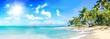 Leinwanddruck Bild - Ferien, Tourismus, Sommer, Sonne, Strand, Meer, Glück, Entspannung, Meditation: Traumurlaub an einem einsamen, karibischen Strand :)