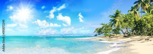 Ferien, Tourismus, Sommer, Sonne, Strand, Meer, Glück, Entspannung, Meditation: Traumurlaub an einem einsamen, karibischen Strand :) - 195873244