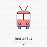Trolleybus thin line icon, front view, Modern vector illustration of public transport.