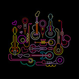 Musical Instruments Neon Design