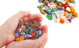 hand with collection of semiprecious natural stones - 195877875