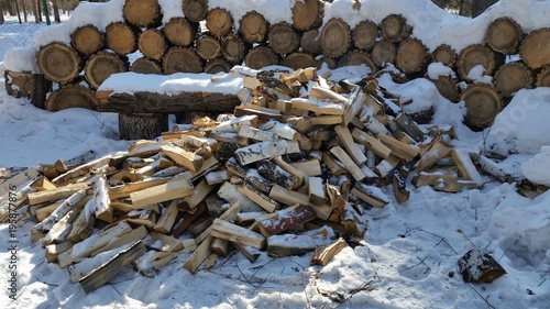 Tuinposter Brandhout textuur Chopped firewood