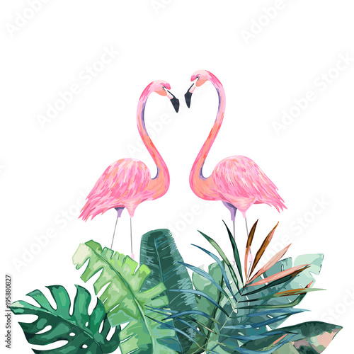 Couple pink flamingos. Tropical print for invitation, birthday, celebration, greeting card. Vector illustration - 195880827