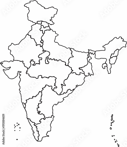 Freehand sketch outline India map, vector illustration. | Buy Photos ...