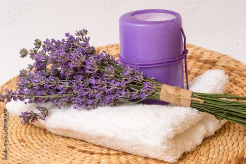 Fotobehang Spa Bunch of lavender flower on white.