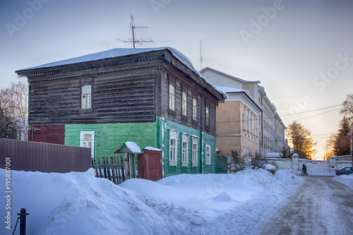 Fototapeta Old houses in ancient Russian city of Kolomna, Moscow region, Russia, after snowfall. Winter overcast day.