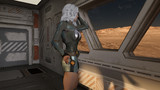 Female Space Traveler on Space Ship 3D Rendering - 195890429
