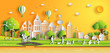 Paper art style of landscape in the city with sunset, people enjoy fresh air in the park, flat-style vector illustration.