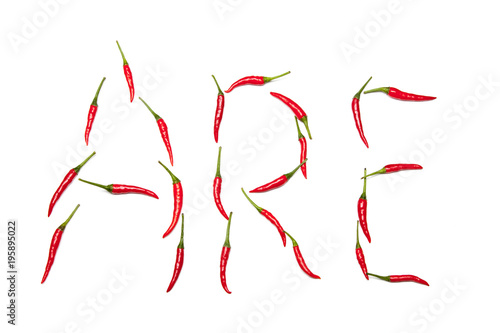 Staande foto Hot chili peppers Wort in Chilis gelegt