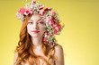 woman with wearing a wreath of tulips - 195896817