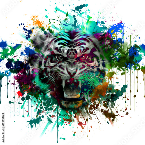 Aluminium Reznik тигр абстрактные иллюстрации