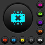 Hardware failure dark push buttons with color icons - 195898491