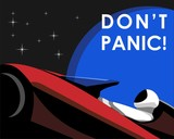 Poster of astronaut mannequin named Starman driving chery red Tesla's electric car named Roadster in the journey to Mars with earth and star background and also  catchphrase