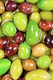 Salted olives of several varieties