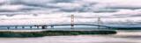 Mackinac Bridge Panorama. Vintage Look. Motion-blur Foreground. - 195906644